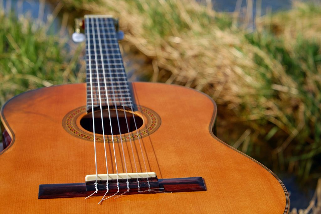 An acoustic guitar lying the grass