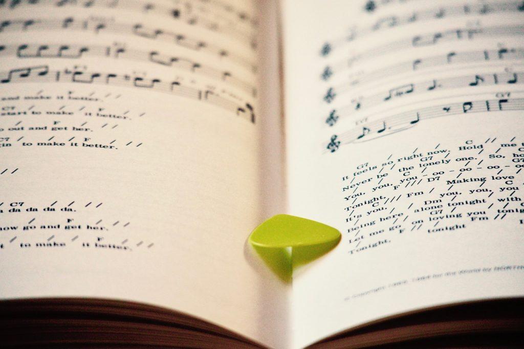 A plectrum in an open book
