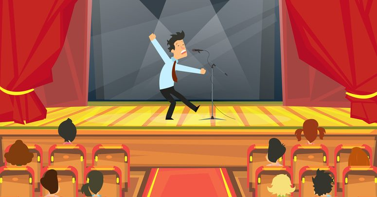 A cartoon image of a comedian on stage at a London comedy club