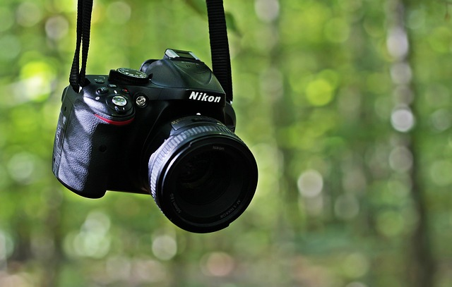 A DSLR camera hanging from a tree