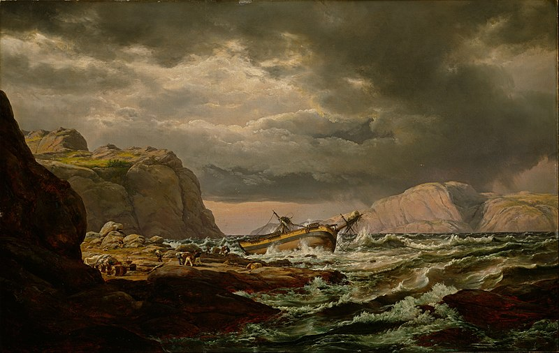 Shipwreck on the Coast of Norway painting by Johan Christian Dahl