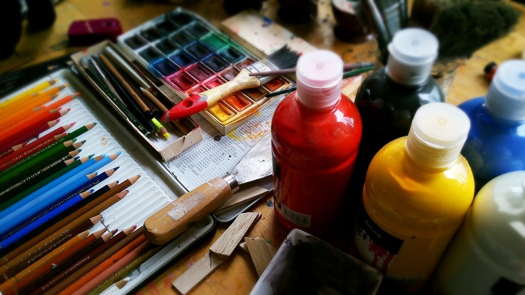 Paint, brushes and pencils for painting