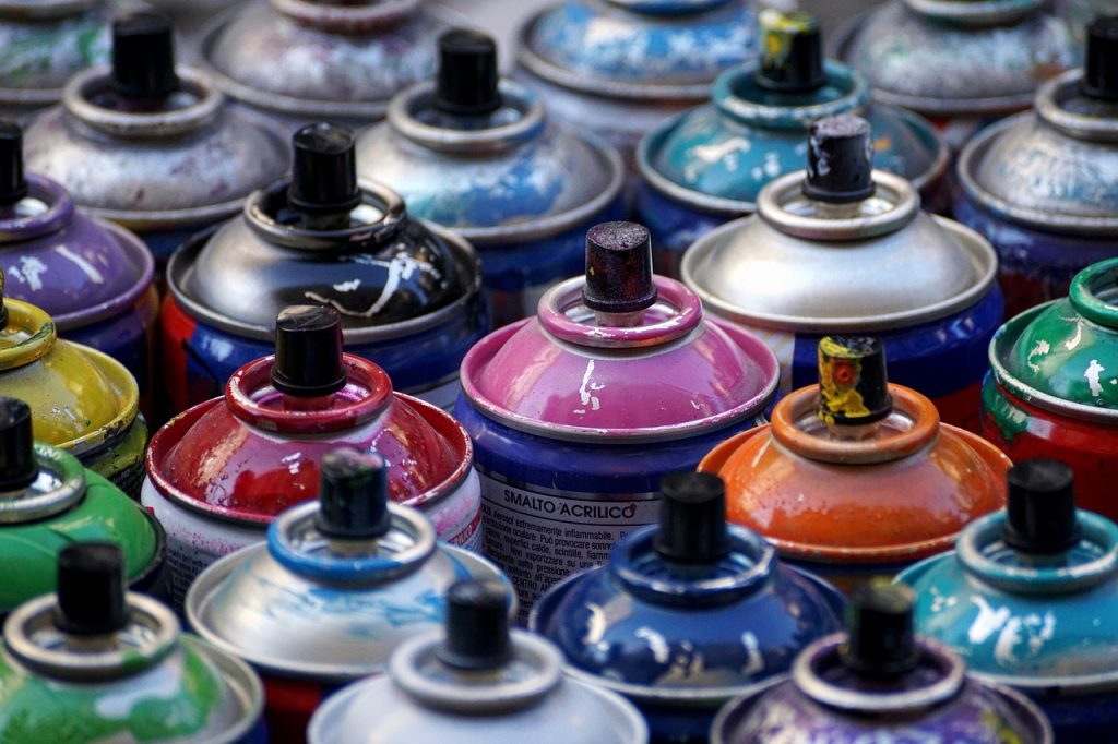 Different colour spray paint cans