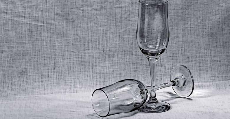 A still life drawing of 2 glasses