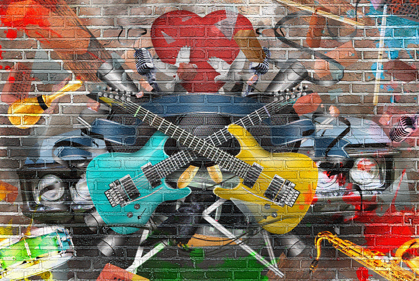A conceptual music collage on a wall