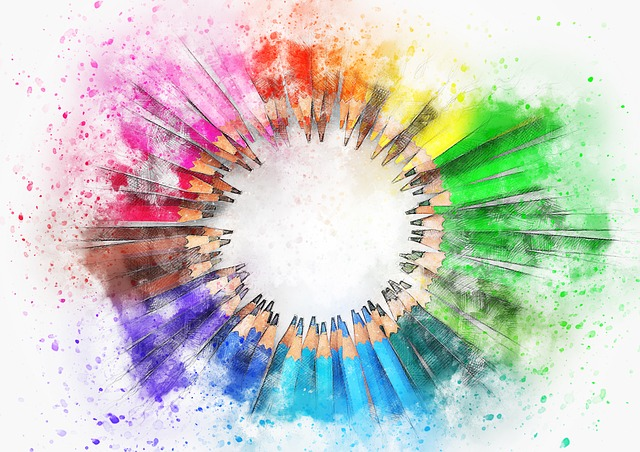 A sketch of colored art pencils in a circle