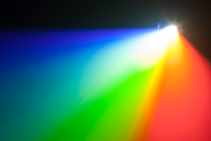 A rainbow light spectrum coming from a projector