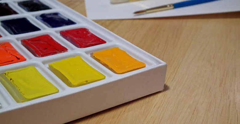 A paint set on a table