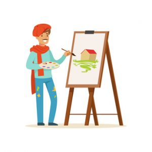 A cartoon of a man painting with an easel