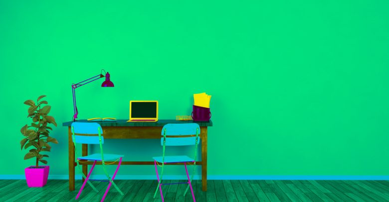 An artistic image of a PC and desk