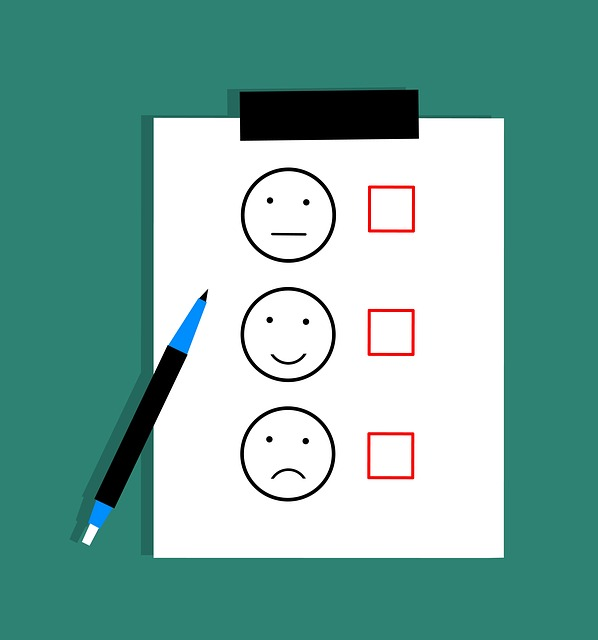 A review checklist with different emotions