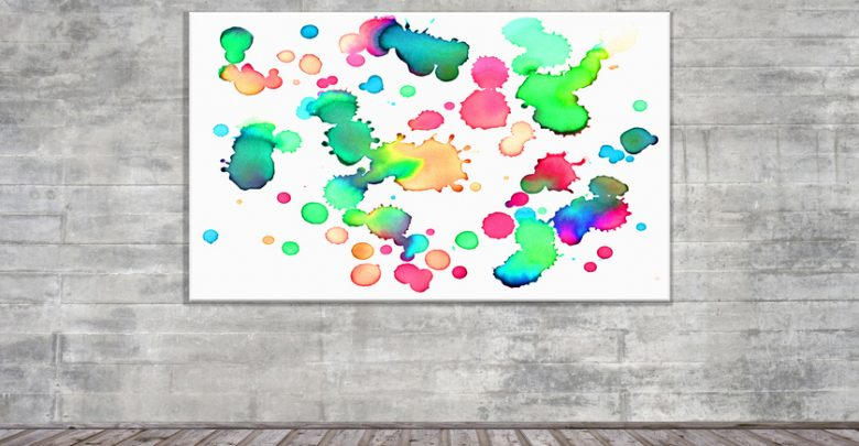 A colorful art print on the wall