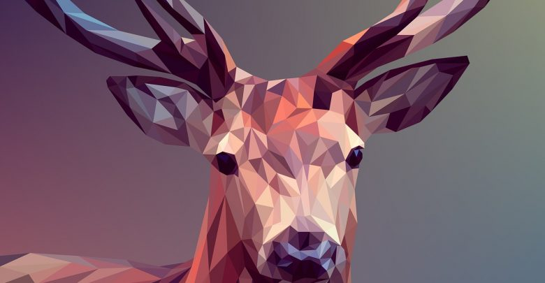 A graphic design of a deer