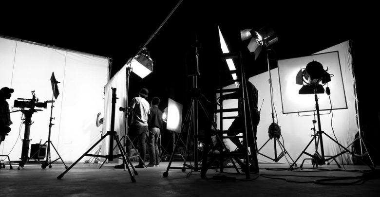 A film crew on set