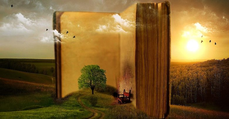 An open book with a visual representation of the story
