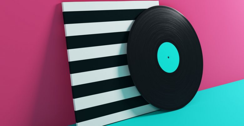 A 3d rendering of a record on a colourful background