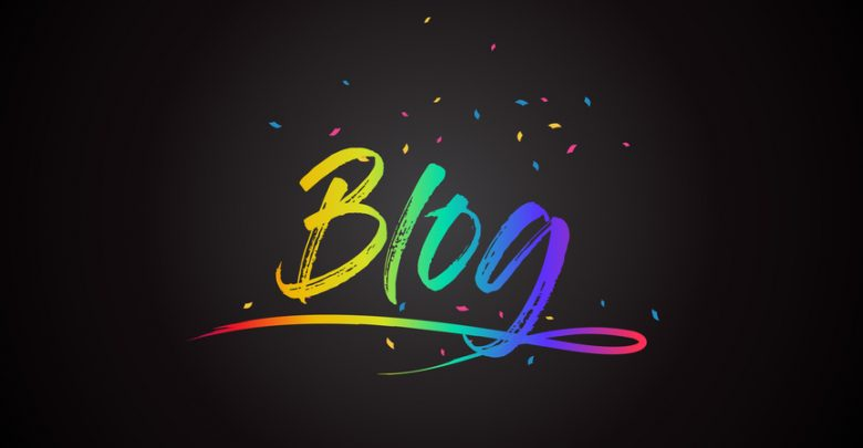 The word blog in colorful writing