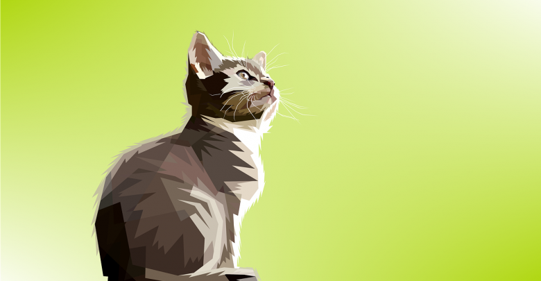 An art print of a cat with light green background