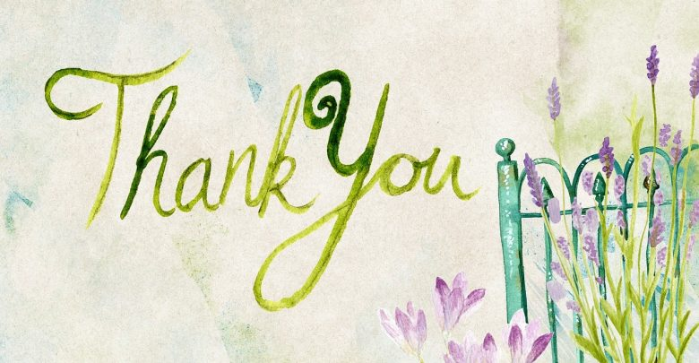 The word thank you written in calligraphy