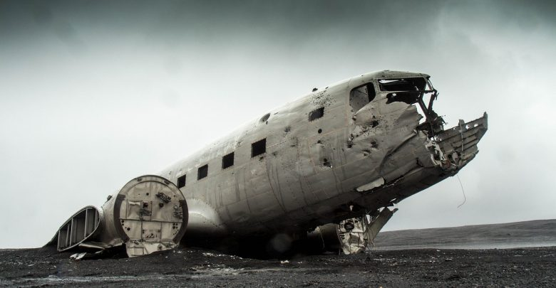 The wreckage of a crashed plane