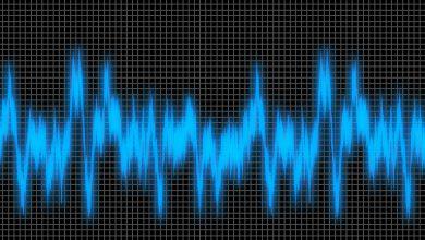 A blue sound wave