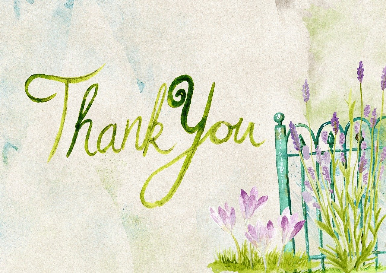Thank you written on card