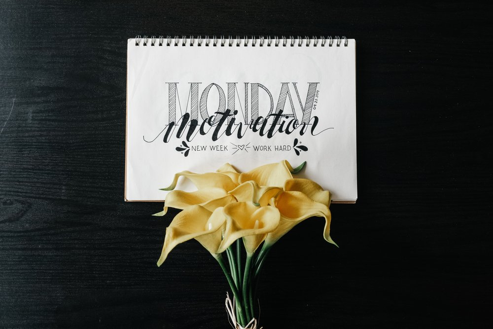 Monday motivation written in typeface