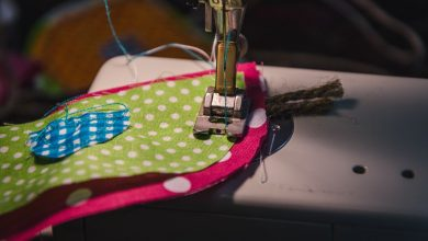 A sewing machine with costume fabric