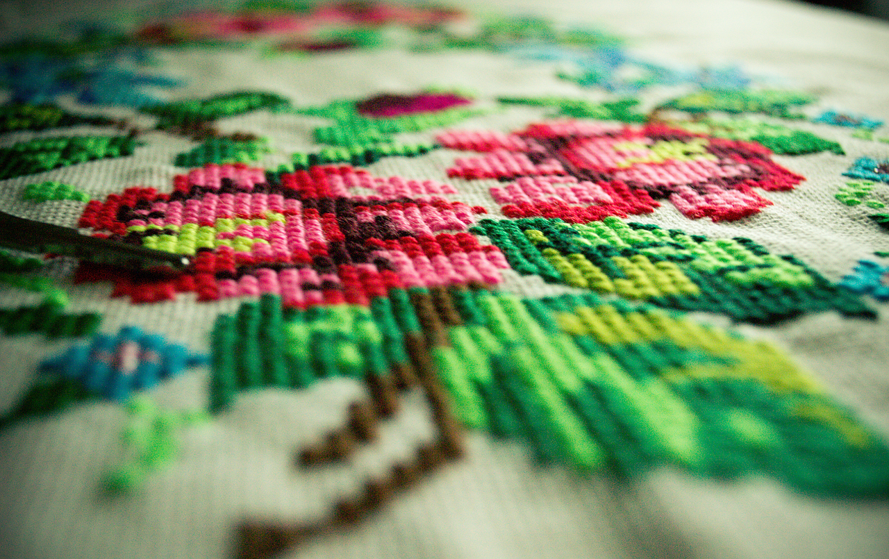 Flower embroidery on material