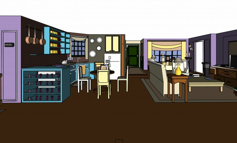 An artists drawing of the apartment from Friends