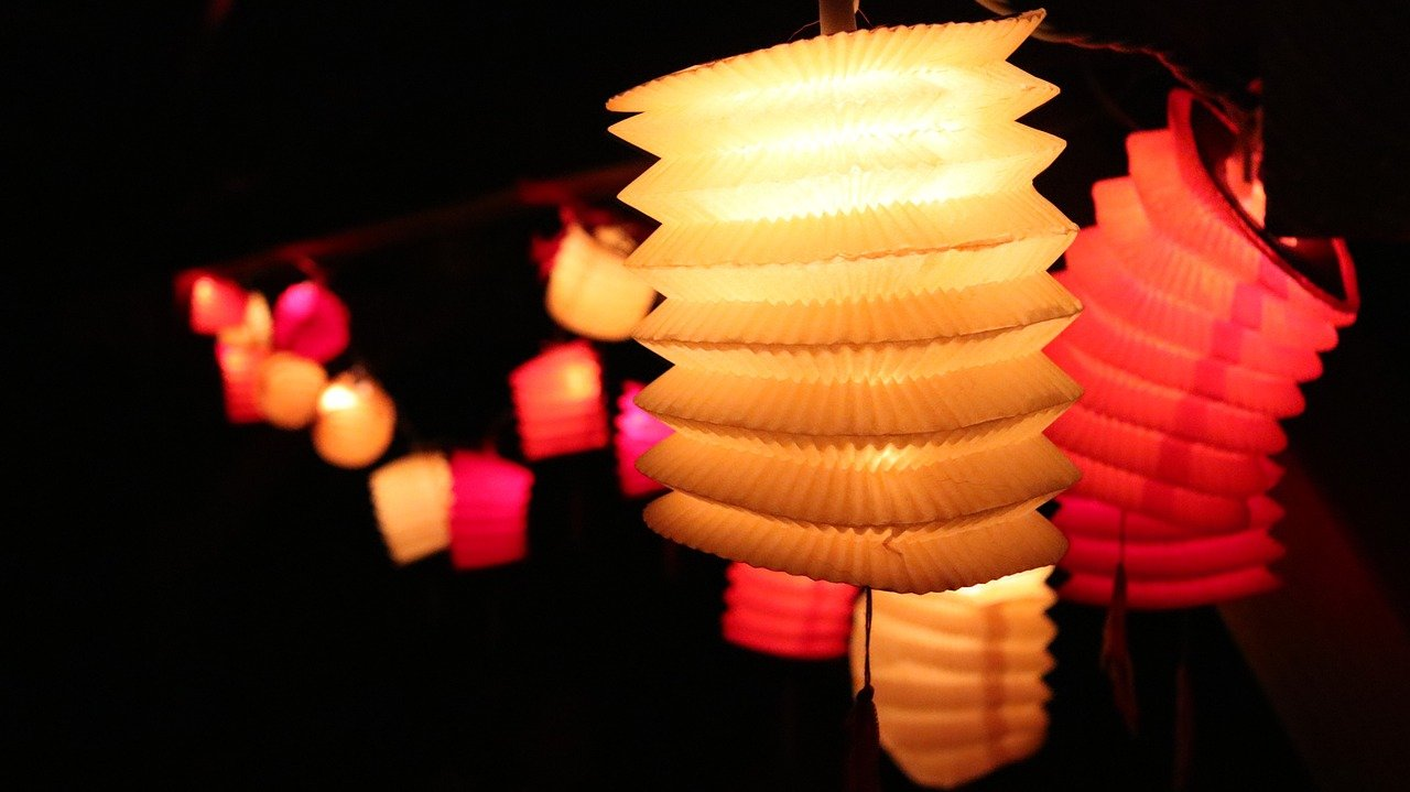 Paper lanterns with lights inside