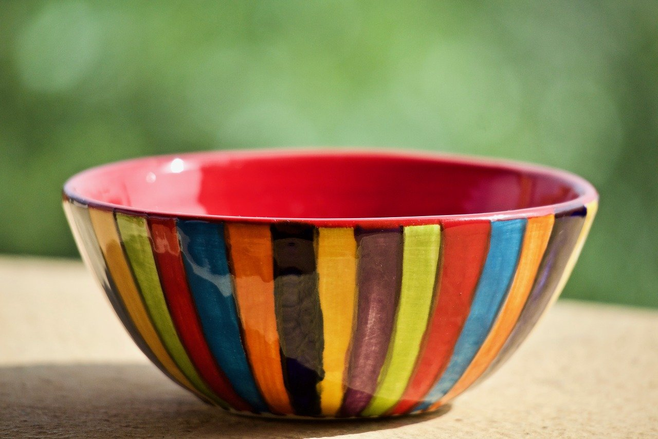 A colorful bowl with glaze