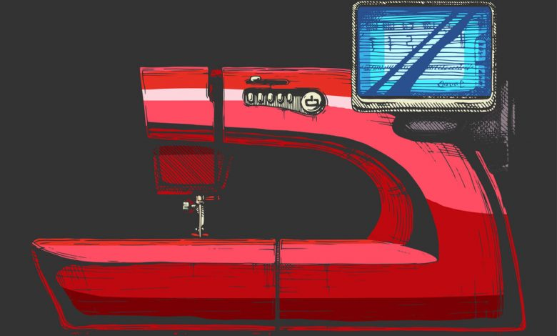 An illustration of a red computerized sewing machine