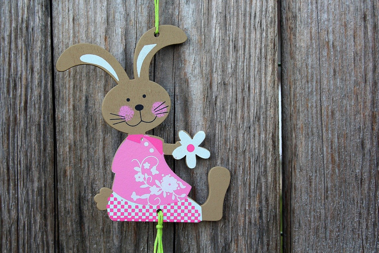 A wooden bunny ornament